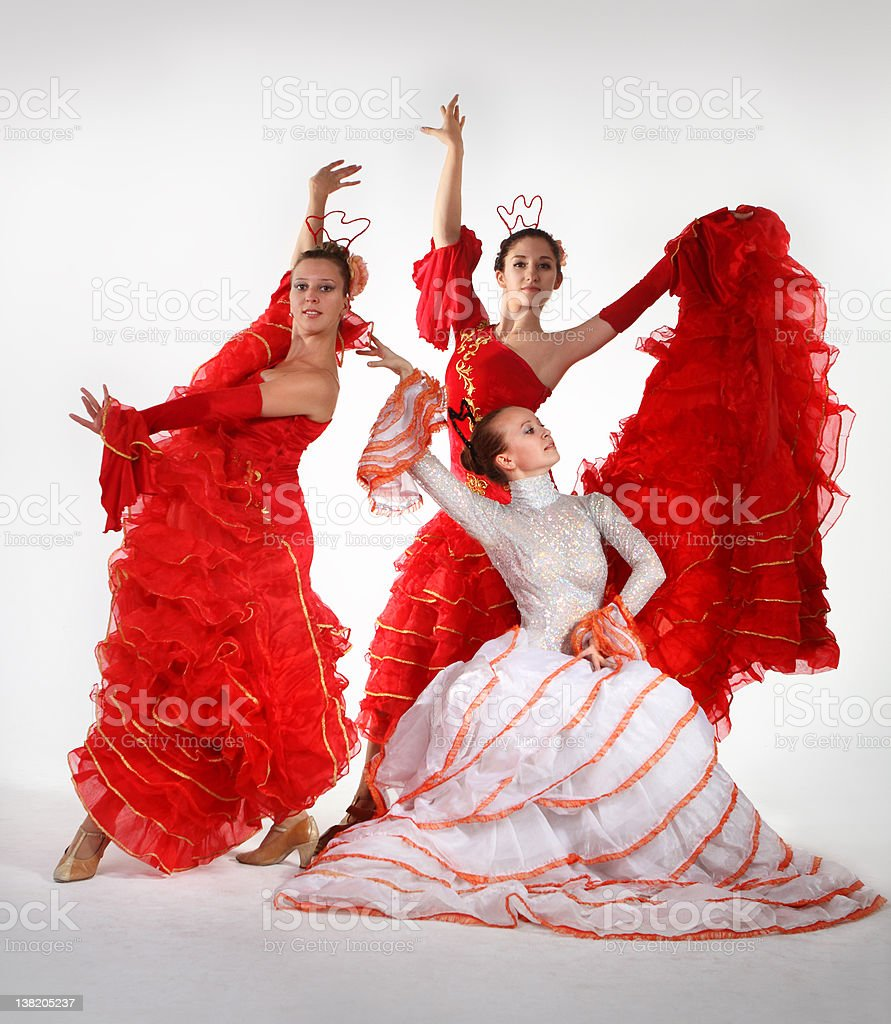 Three young women dancing flamenco royalty-free stock photo