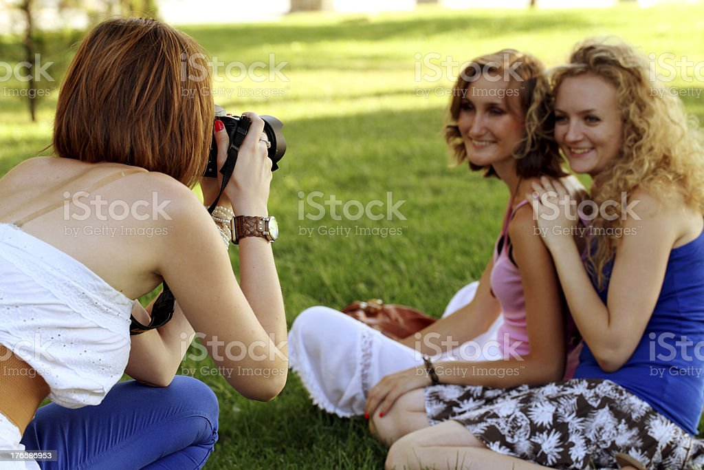 three young women royalty-free stock photo