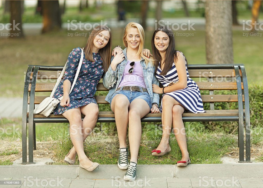 Three young women relaxing in the city. royalty-free stock photo