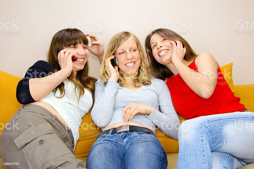 Three Young Women Talking royalty-free stock photo