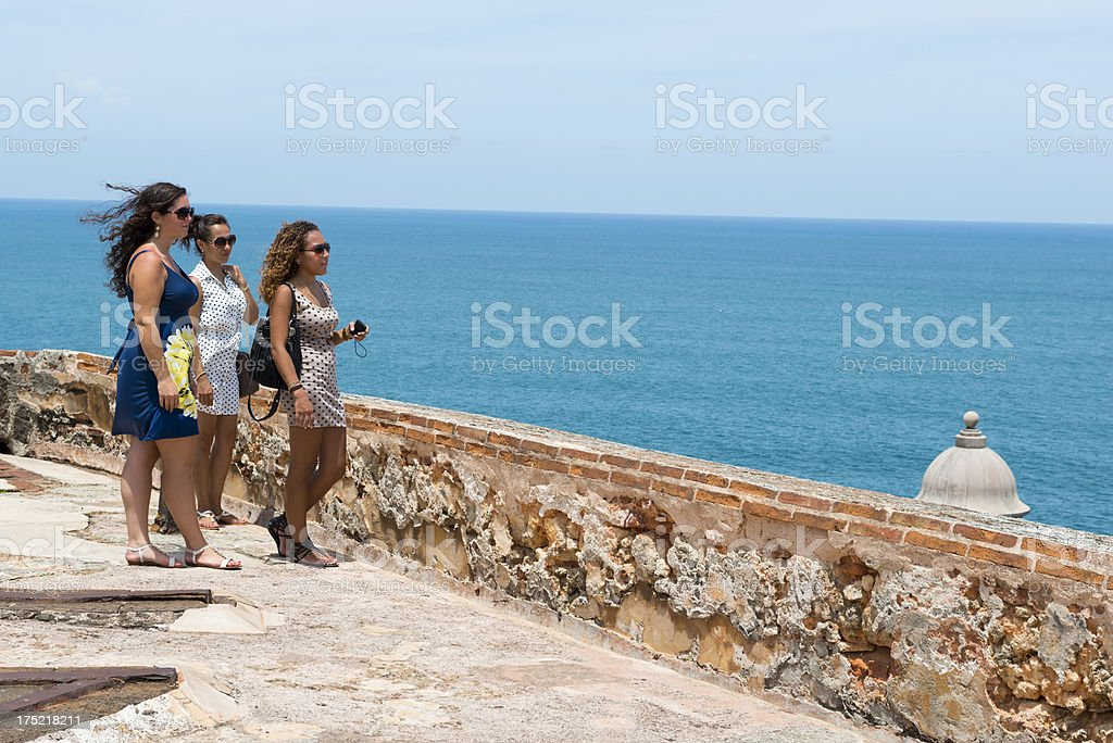 Young women vacationing in Puerto Rico stock photo