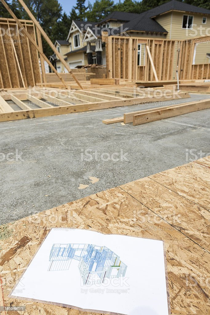 Three-D framing print in foreground of new home construction stock photo
