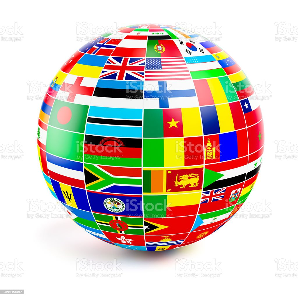 ThreeD globe sphere with flags of the world on white stock photo
