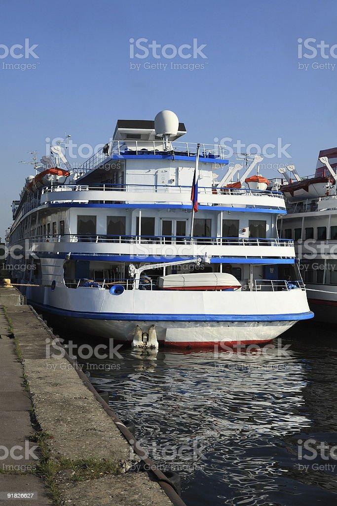 three-dec ship by berth at day to be anchored royalty-free stock photo