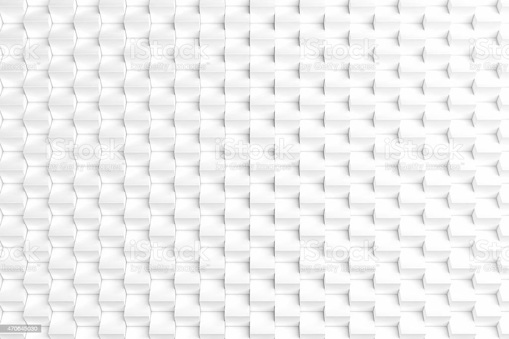 Three-dimensional abstract space background with rows of white cubes stock photo