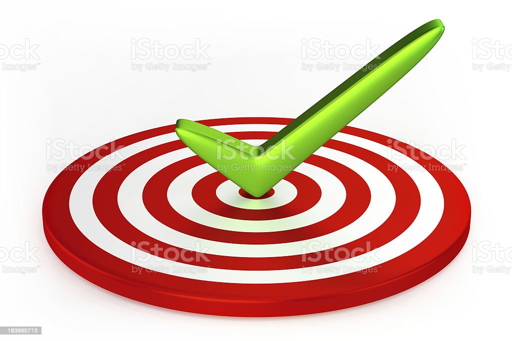 Three-dimensional checkmark in three-dimensional target royalty-free stock photo