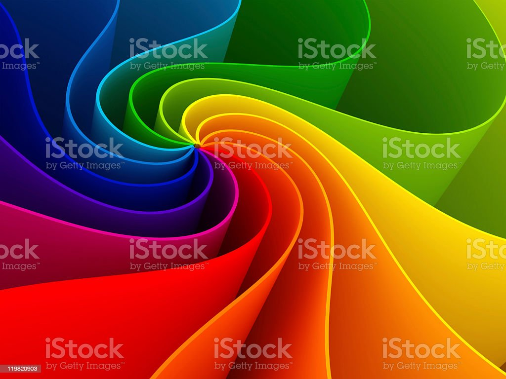 Three-dimensional colorful swirl rainbow background stock photo