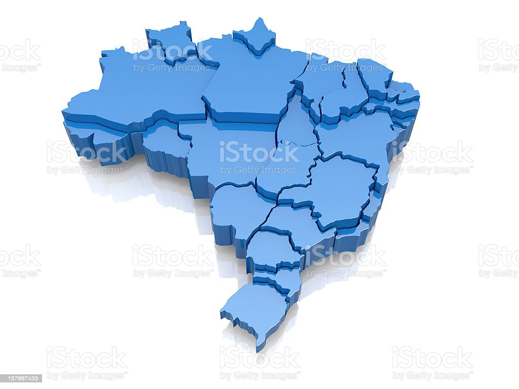 Three-dimensional map of Brazil stock photo