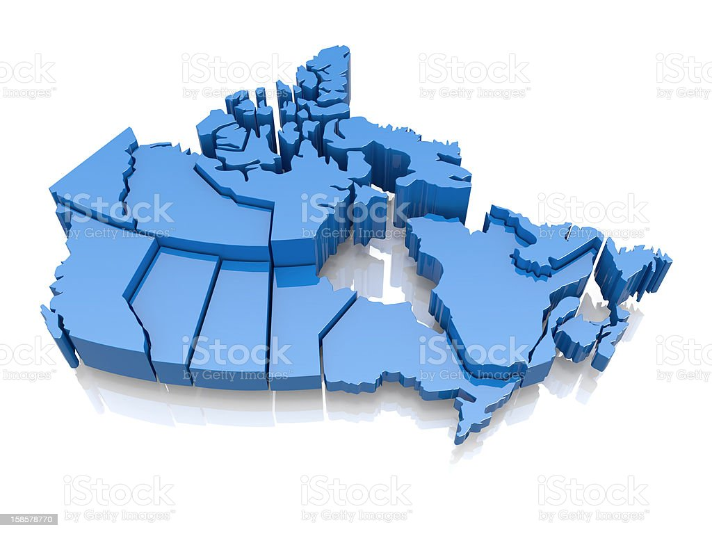 Three-dimensional map of Canada stock photo