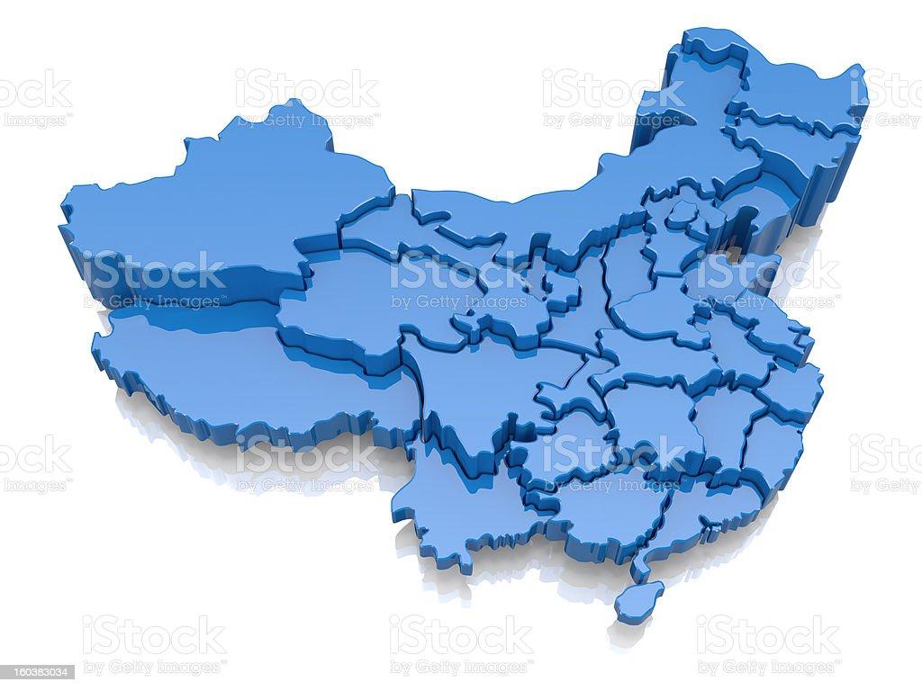 Three-dimensional map of China stock photo