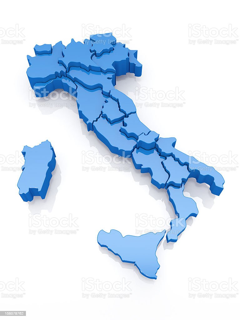 Three-dimensional map of Italy stock photo