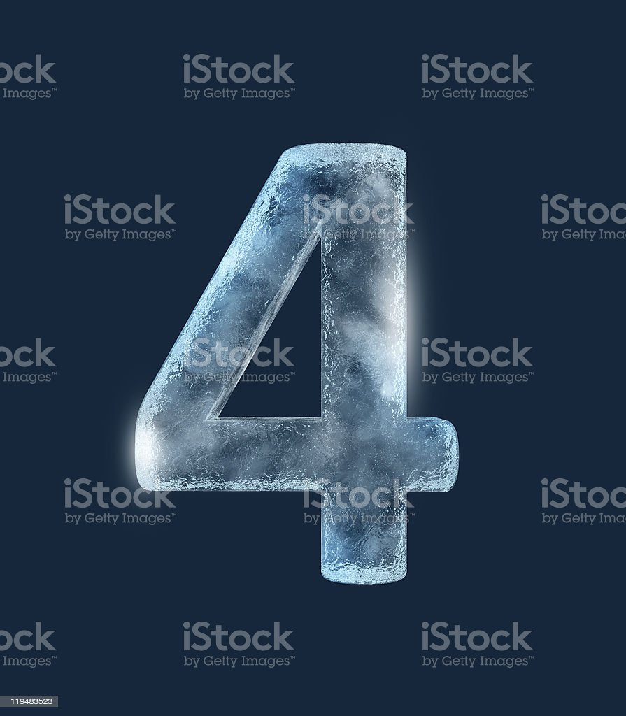 Three-dimensional number four in ice on black background  stock photo