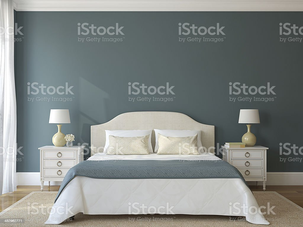 Three-dimensional render of a bedroom in Provence royalty-free stock photo