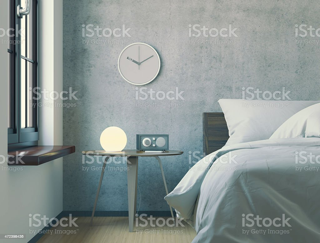 Three-dimensional render of modern minimalist bedroom in the morning. stock photo