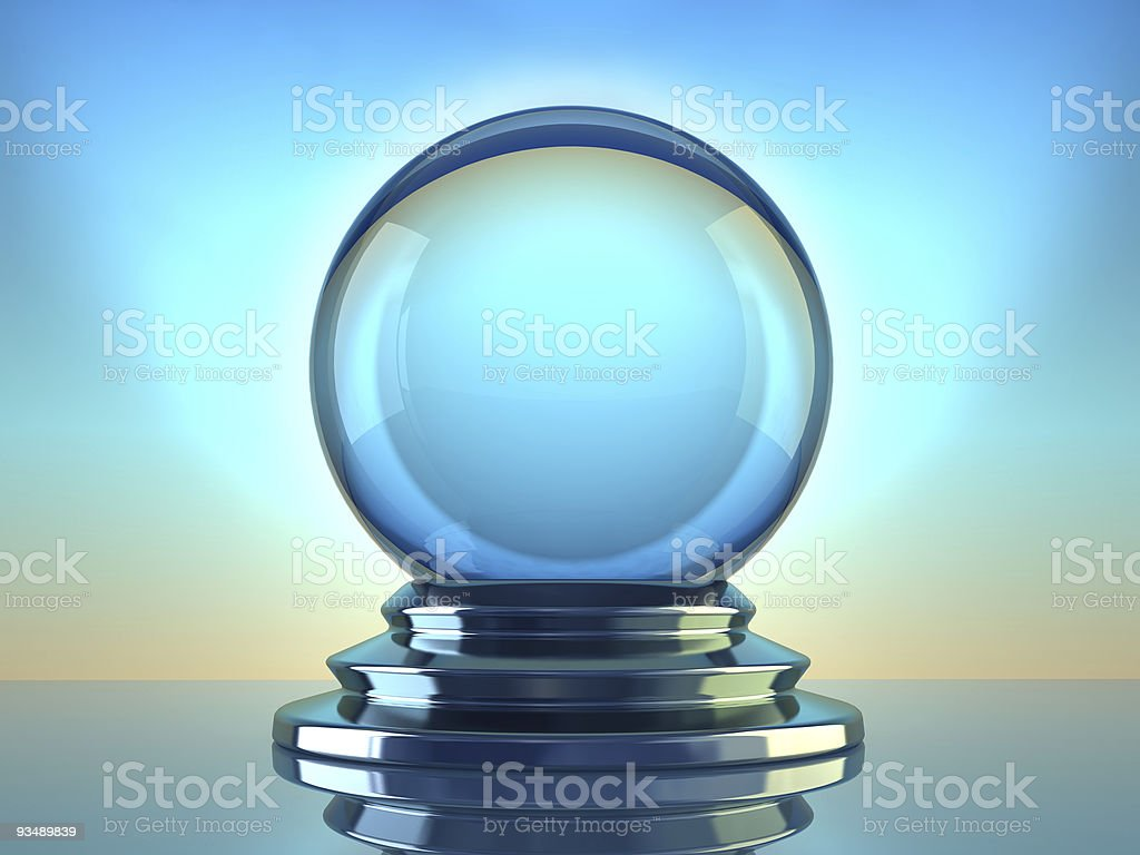 Three-dimensional rendering of crystal ball stock photo