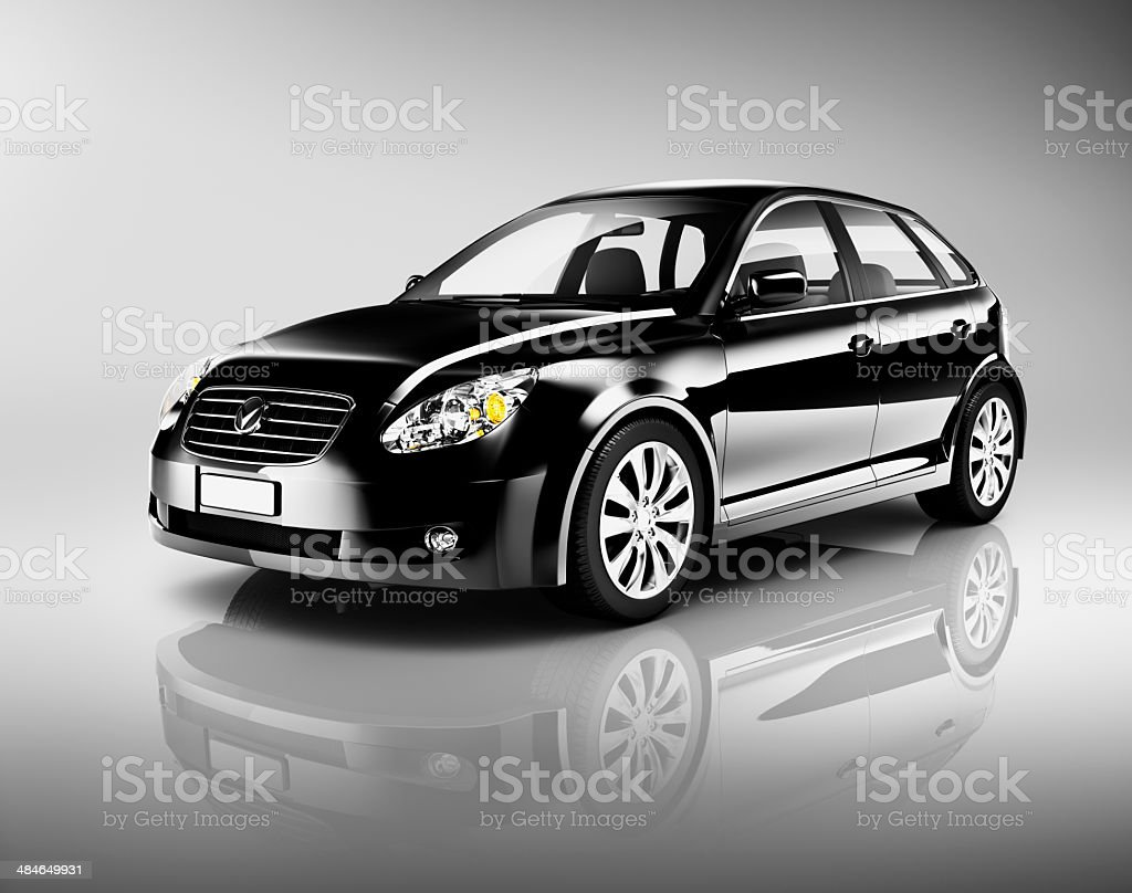 Three-Dimensional Shape Black Sedan Studio Shot stock photo