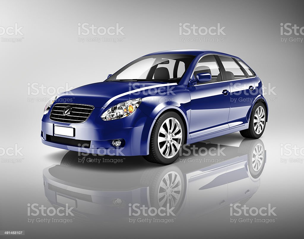 Three-Dimensional Shape Blue Sedan Studio Shot stock photo