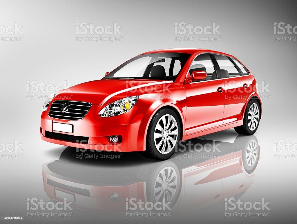 Three-Dimensional Shape Red Sedan Studio Shot stock photo