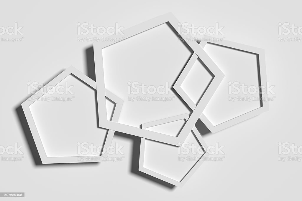 Three-dimensional white pentagons casting shadow stock photo