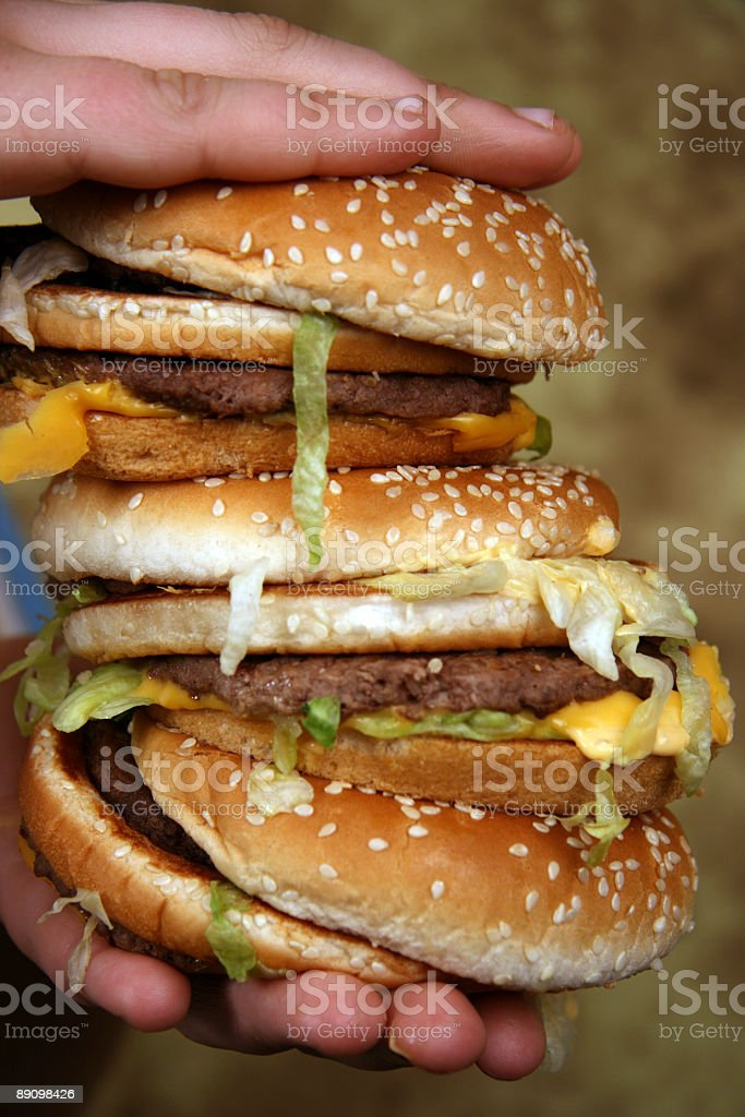 Threefold hamburger royalty-free stock photo