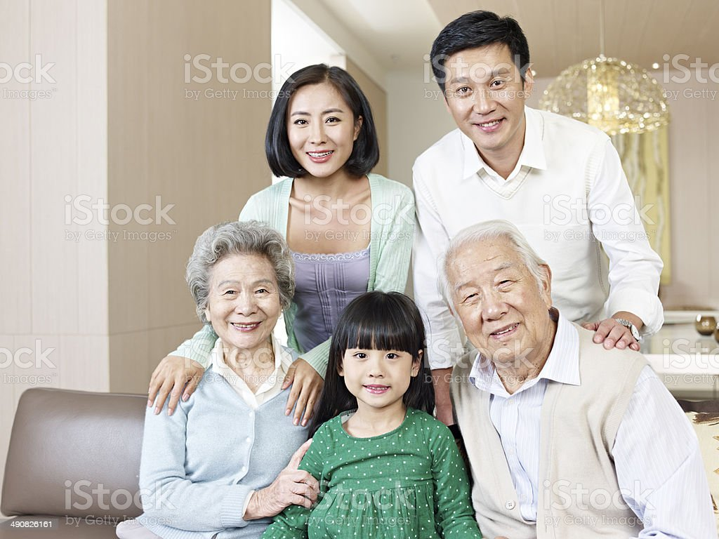 three-generation family stock photo