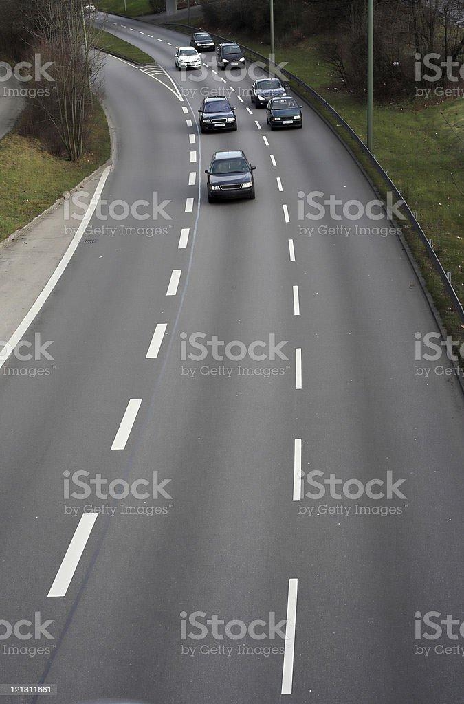 Three-lane roadway royalty-free stock photo