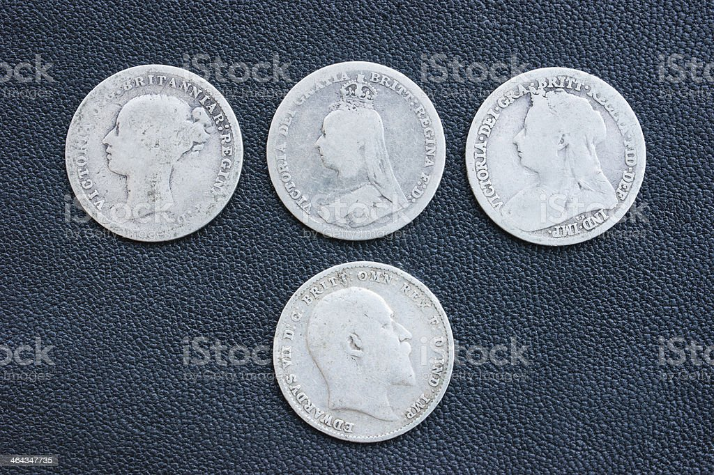 Threepence, thruppenny, silver coin, Victoria, Edward, British. royalty-free stock photo