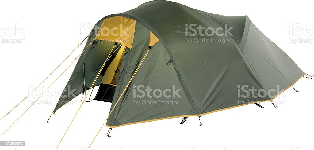 Three-person tunnel tent with flysheet for camping stock photo