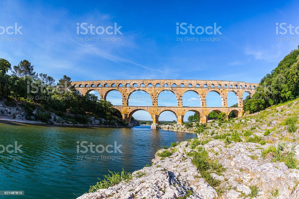 Three-tiered aqueduct Pont du Gard in  Provence stock photo