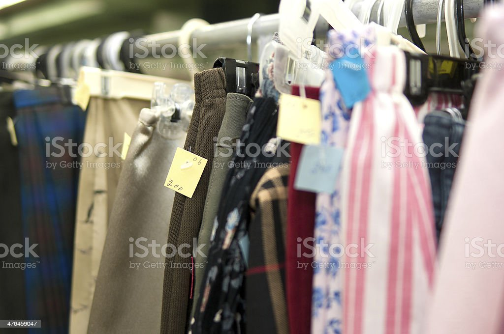 Thrift Store Clothing on Rack royalty-free stock photo