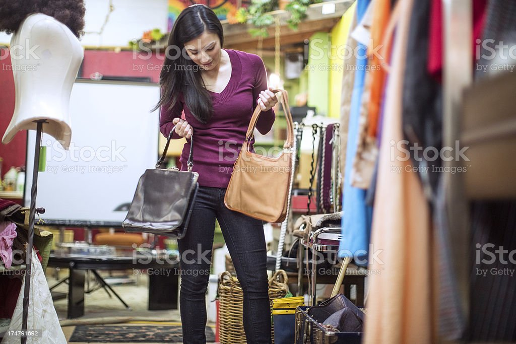 Thrift Store Shopping Young Woman royalty-free stock photo