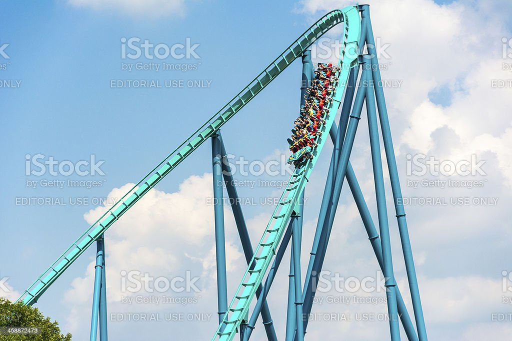 Thrill and emotion of fast movement stock photo