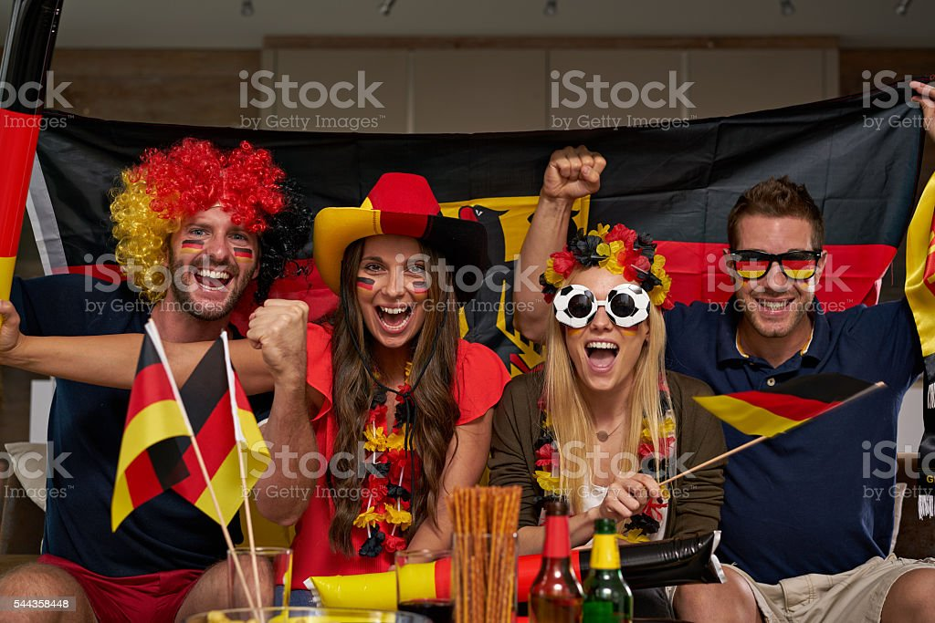 thrilled german soccer fans stock photo