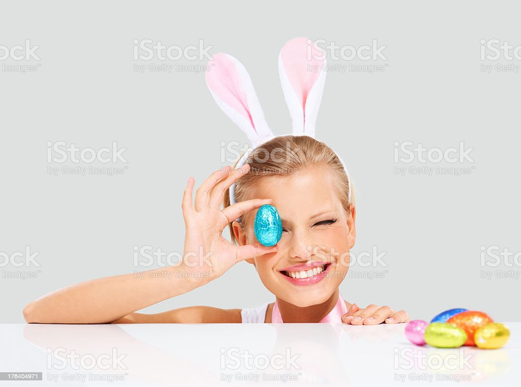 Thrilled with all her Easter eggs stock photo
