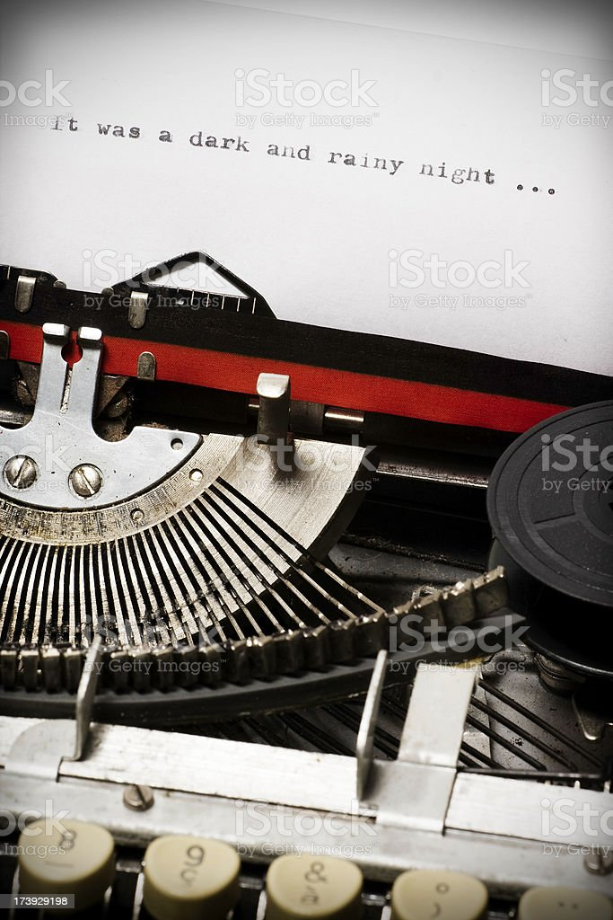 thriller incipit written with an old typewriter royalty-free stock photo