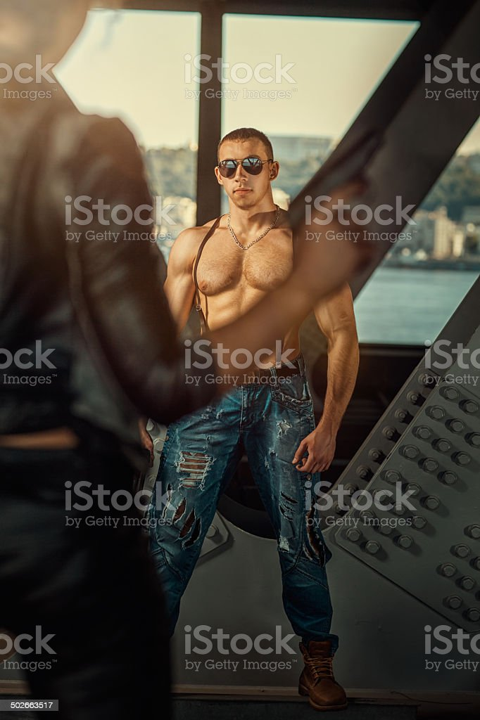 thriller with a man stock photo