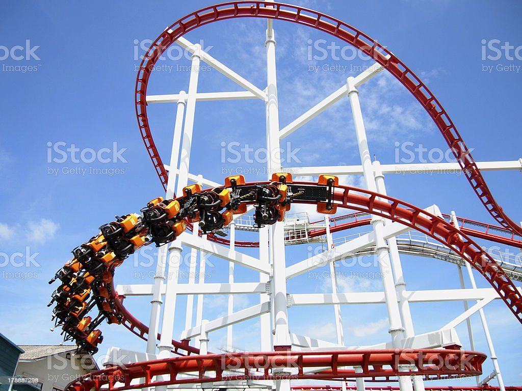 Thrills for riders of the roller coaster royalty-free stock photo