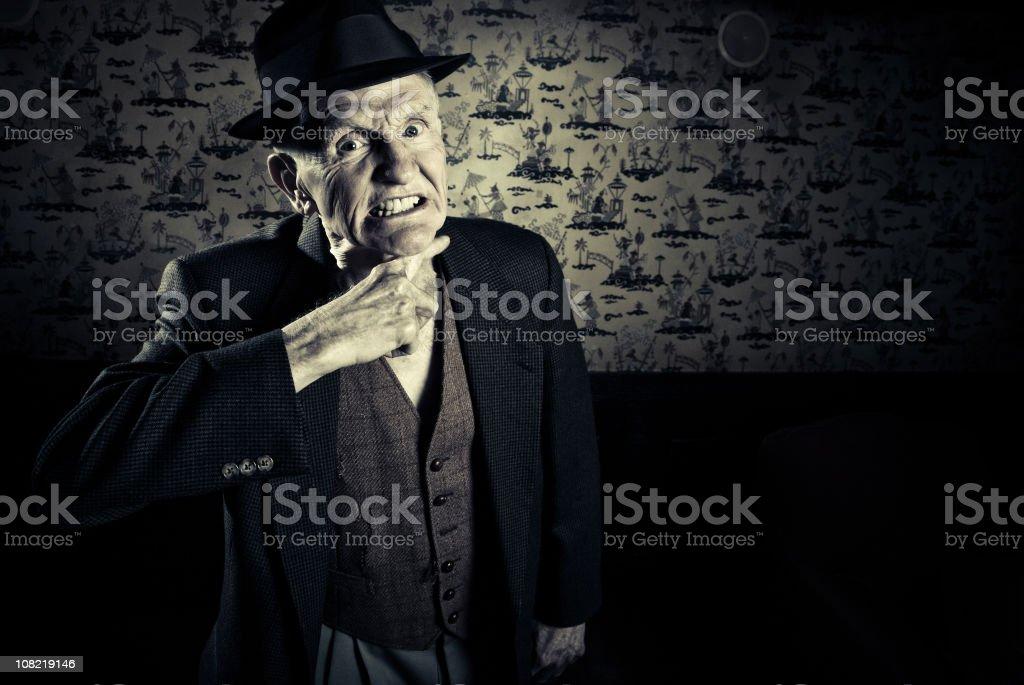 throat-cutting gesture stock photo