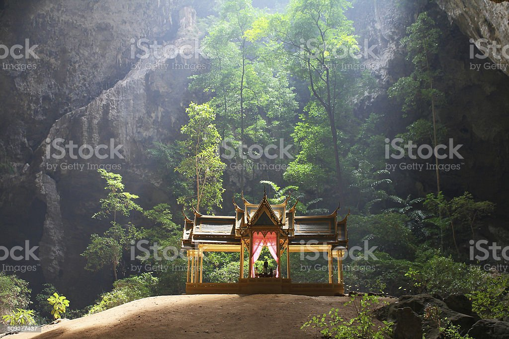 Throne in cave stock photo