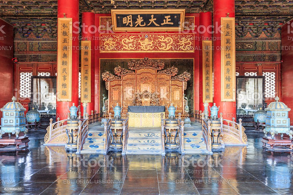Throne of Chinese Emperor in Beijing Forbidden City,China stock photo