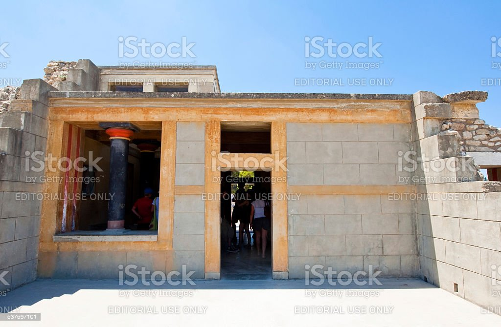 Throne Room at the Knossos palace on Crete, Greece. stock photo