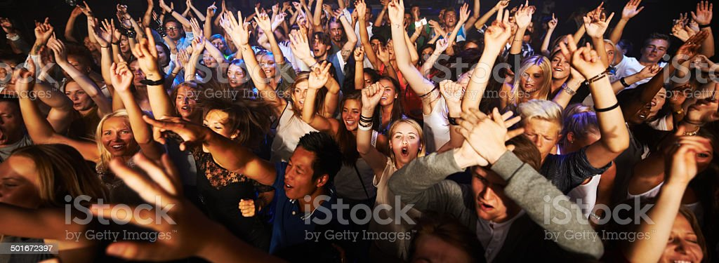 Throngs of adoring fans stock photo