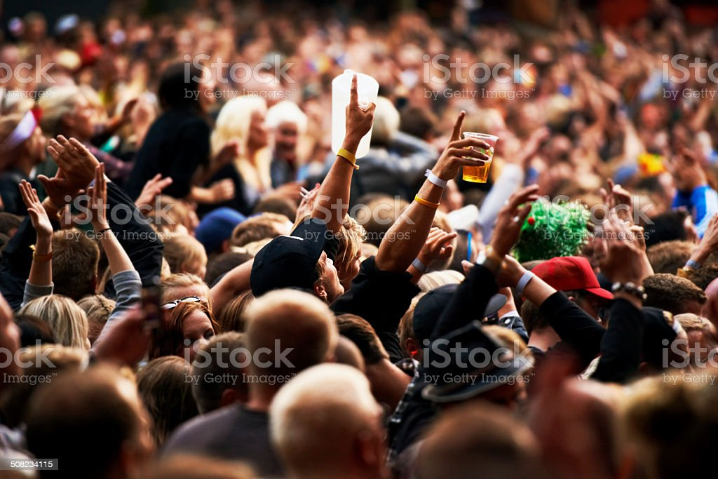 Throngs of fans stock photo