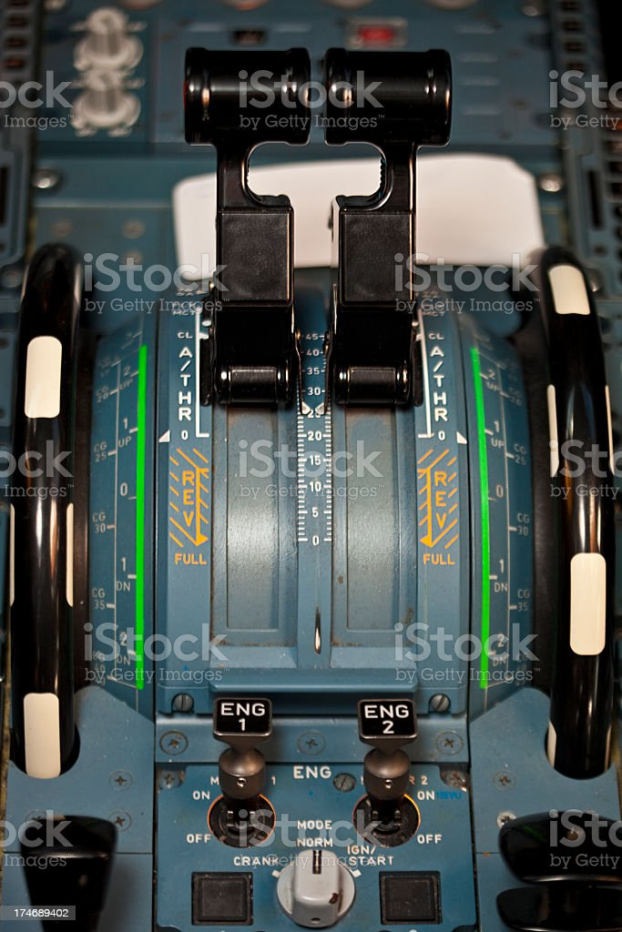 Throttle controls stock photo