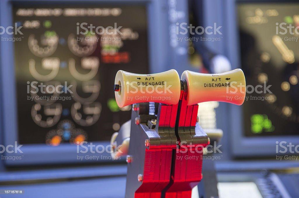 Throttle of an homemade Flight Simulator - Boeing 737-800 royalty-free stock photo