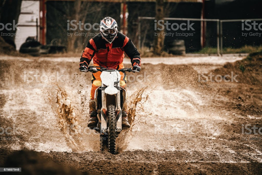 Through a puddle stock photo