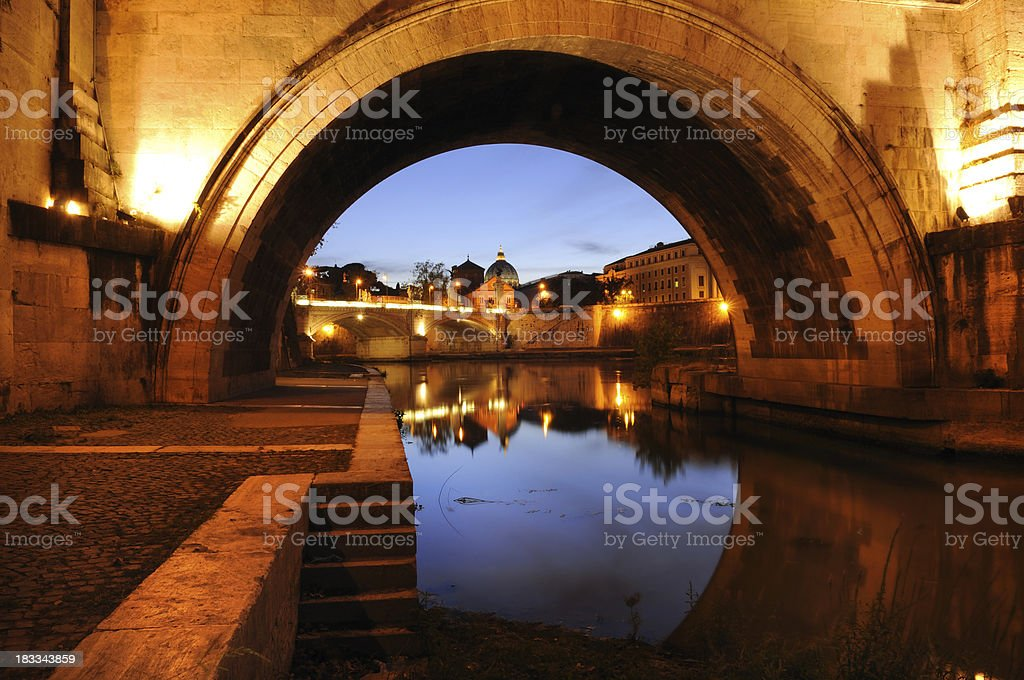 Through The Arch Of Ponte Sant Angelo  - Rome royalty-free stock photo