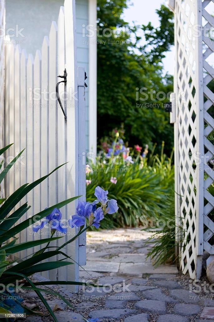 Through the garden gate royalty-free stock photo
