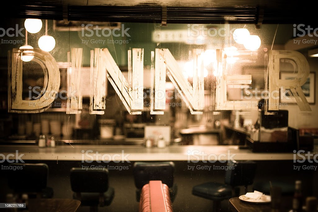 Through the glass of a diner window stock photo