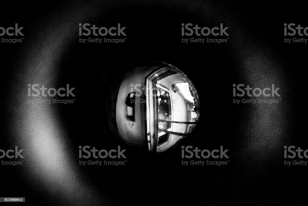 Through the peep hole stock photo
